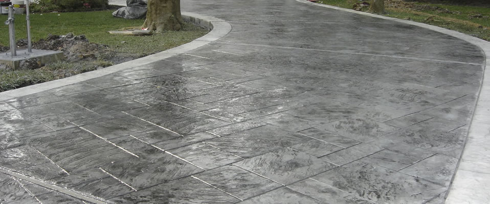 Stamped and Colored Concrete Driveways