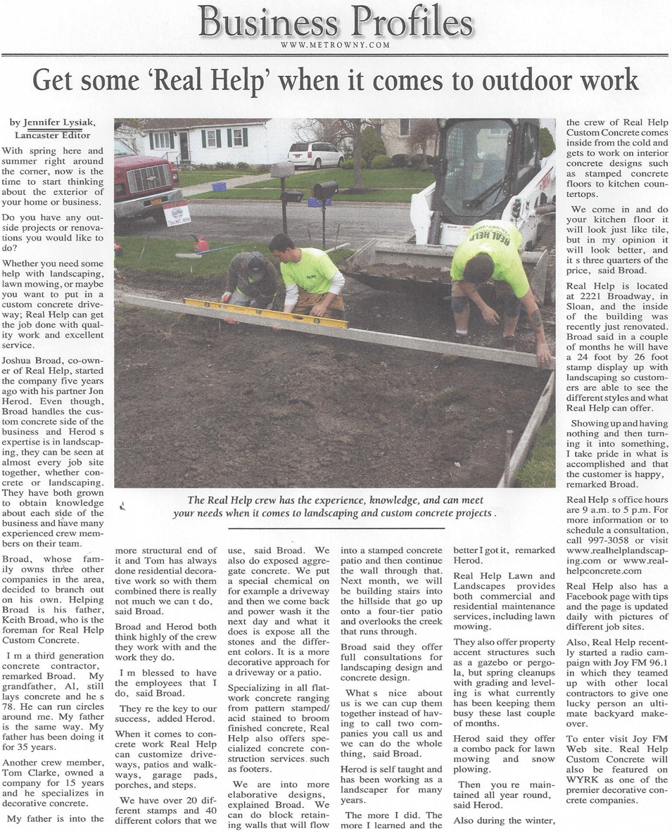 Real Help Concrete of Buffalo New York in the news!